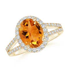 Oval Citrine Split Shank Halo Ring