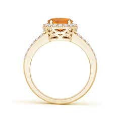 Toggle Oval Citrine Split Shank Halo Ring