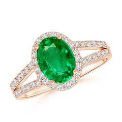 Oval Emerald Split Shank Halo Ring