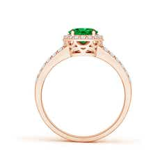 Toggle Oval Emerald Split Shank Halo Ring