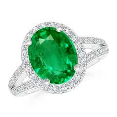 GIA Certified Oval Emerald Split Shank Halo Ring