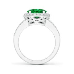 Toggle GIA Certified Oval Emerald Split Shank Halo Ring