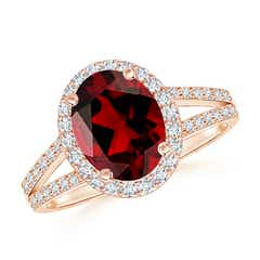 Oval Garnet Split Shank Halo Ring