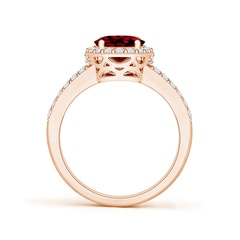 Toggle Oval Garnet Split Shank Halo Ring