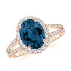 Oval London Blue Topaz Split Shank Halo Ring