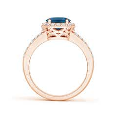 Toggle Oval London Blue Topaz Split Shank Halo Ring