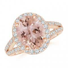Oval Morganite Split Shank Halo Ring
