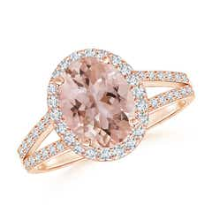 Split Shank Vintage Morganite Ring with Diamond Halo