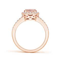 Toggle Oval Morganite Split Shank Halo Ring