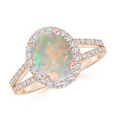 Split Shank Vintage Opal Ring with Diamond Halo