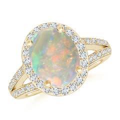 Oval Opal Split Shank Halo Ring