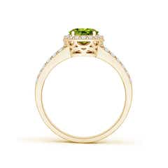 Toggle Oval Peridot Split Shank Halo Ring
