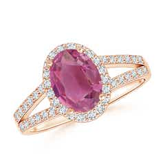Split Shank Vintage Pink Tourmaline Ring with Diamond Halo
