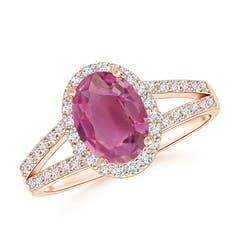 Oval Pink Tourmaline Split Shank Halo Ring