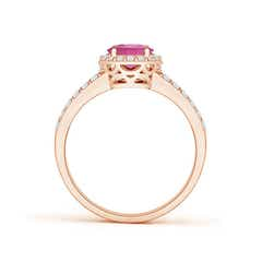 Toggle Oval Pink Tourmaline Split Shank Halo Ring
