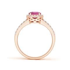 Toggle Oval Pink Tourmaline Split Shank Halo Ring