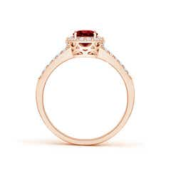 Split Shank Vintage Ruby Ring with Diamond Halo