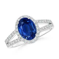 Split Shank Vintage Blue Sapphire Ring with Diamond Halo