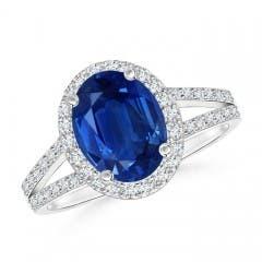 Split Shank Vintage Blue Sapphire Ring with Diamond Halo