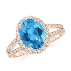Oval Swiss Blue Topaz Split Shank Halo Ring