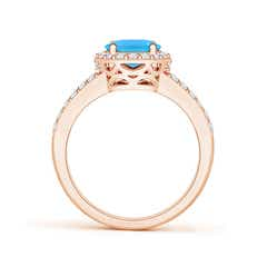 Toggle Oval Swiss Blue Topaz Split Shank Halo Ring