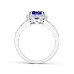 Toggle Oval Tanzanite Ring Split Shank Halo Ring