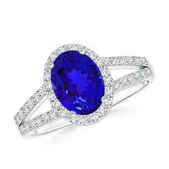 Oval Tanzanite Ring Split Shank Halo Ring