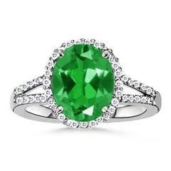 Lab Created Oval Emerald Split Shank Ring with Diamond Halo
