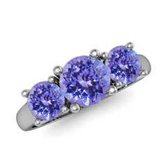Classic Round Tanzanite Three Stone Ring