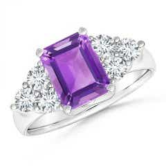 Emerald-Cut Amethyst Ring with Trio Diamonds