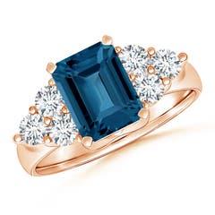 Emerald Cut London Blue Topaz Ring with Trio Diamond Accents