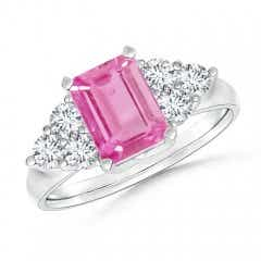 Emerald-Cut Pink Sapphire Ring with Trio Diamonds