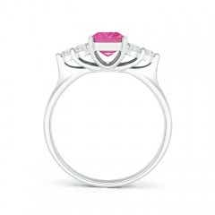 Toggle Emerald-Cut Pink Sapphire Ring with Trio Diamonds
