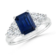 Emerald-Cut Blue Sapphire Ring with Trio Diamonds