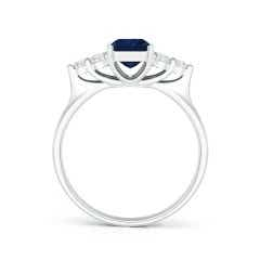 Toggle Emerald-Cut Blue Sapphire Ring with Trio Diamonds