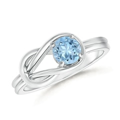 Natural Solitaire Aquamarine Infinity Knot Ring
