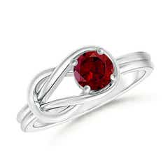 Natural Solitaire Garnet Infinity Knot Ring