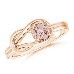 Solitaire Morganite Infinity Knot Ring in 4-Prong Setting