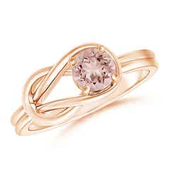 Solitaire Morganite Infinity Knot Ring