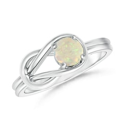 Natural Solitaire Opal Infinity Knot Ring