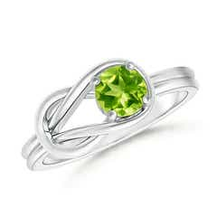 Natural Solitaire Peridot Infinity Knot Ring