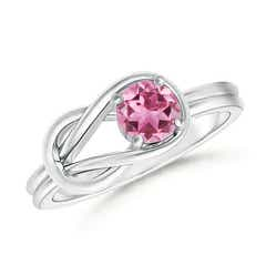 Solitaire Pink Tourmaline Infinity Knot Ring
