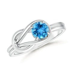 Natural Solitaire Swiss Blue Topaz Infinity Knot Ring