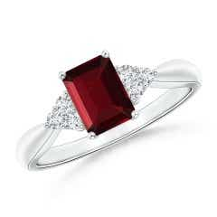 Emerald-Cut Garnet Solitaire Ring with Trio Diamonds
