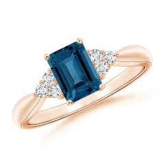Emerald-Cut London Blue Topaz Ring with Trio Diamonds