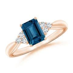 Emerald Cut London Blue Topaz Ring with Trio Diamonds