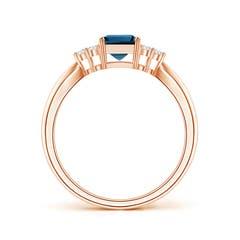 Toggle Emerald-Cut London Blue Topaz Ring with Trio Diamonds