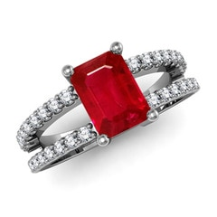 Emerald-Cut Solitaire Ruby Double Shank Ring