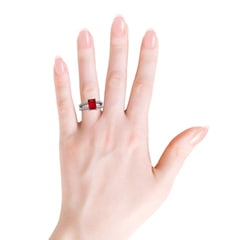 Toggle Emerald-Cut Solitaire Ruby Double Shank Ring