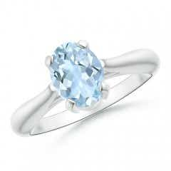 Tapered Shank Oval Aquamarine Solitaire Ring